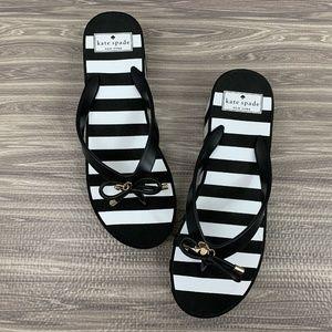 Kate Spade Size 9 Womens Black White Striped Wedge
